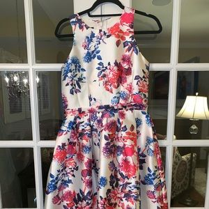 Dianna Tea Midi Neon & White Floral Dress Unique